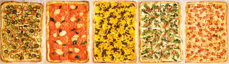 左から野菜たっぷり「タルト・フランベ・ヴェジタリアンヌ」、トマトとモッツァレラがのった「タルト・フランベ・オ・フロマージュ」、スイーツ感覚でいただける「タルト・フランベ・シュクレ」、生ハムがのった「タルト・フランベ・シャキュトリー」、タルト・フランベの定番「タルト・フランベ・クラシック」